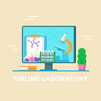 Conceito de laboratório online. teste médico e microscópio na tela do computador. banner vetorial para página de destino
