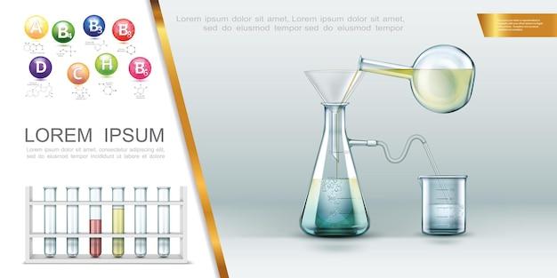 Conceito de laboratório realista com tubos de ensaio, vitaminas, estrutura molecular, experimento químico usando funil de frascos e béquer