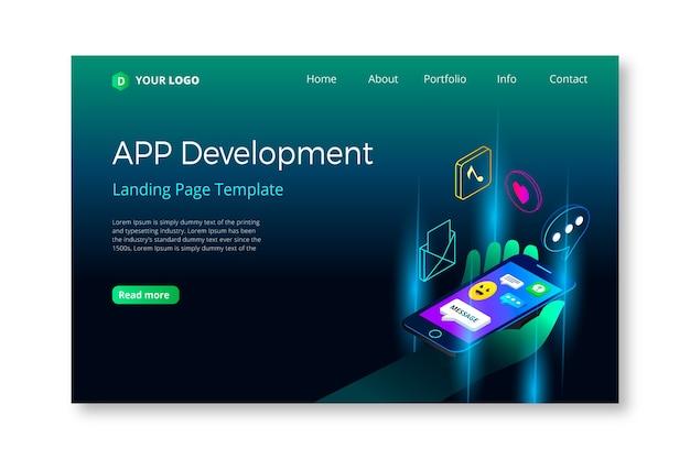 Conceito de landing page com design para dispositivos móveis