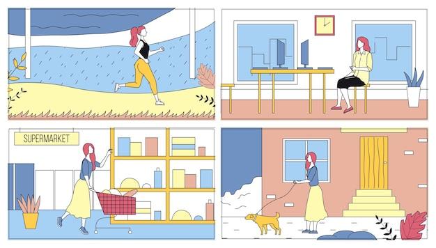 Conceito de lazer diário da mulher jovem. pacote de cenas da vida diária. menina está correndo, fazendo compras no supermercado, andando com o cachorro e trabalhando no escritório. conjunto de ilustrações vetoriais de estilo simples dos desenhos animados.