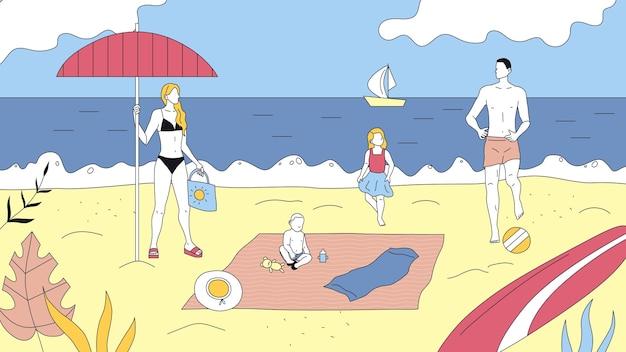 Conceito de lazer em família e passatempo conjunto. pai, mãe, filha e filho passam um tempo juntos na costa do oceano. pessoas relaxam, descansam, nadam no mar e jogam jogos de atividade. ilustração em vetor plana.