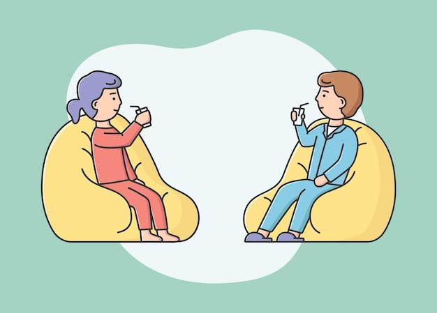 Conceito de lazer união. homem e mulher passando tempo juntos. personagens se comunicam, sentados em pufes e bebem bebidas saborosas. estilo simples de contorno linear dos desenhos animados. ilustração vetorial.