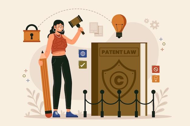 Conceito de lei de patentes com mulher e lâmpada