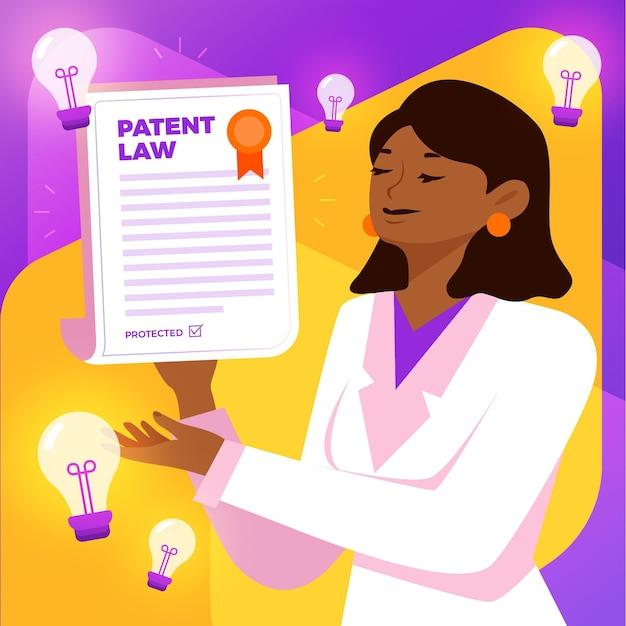 Conceito de lei de patentes com mulher e lâmpadas
