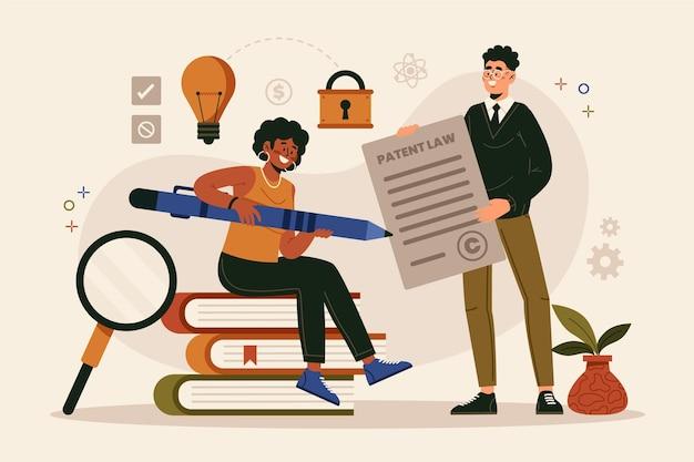 Conceito de lei de patentes de design plano com pessoas e documentos