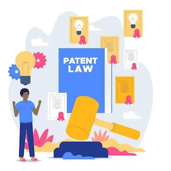 Conceito de lei de patentes ilustrado