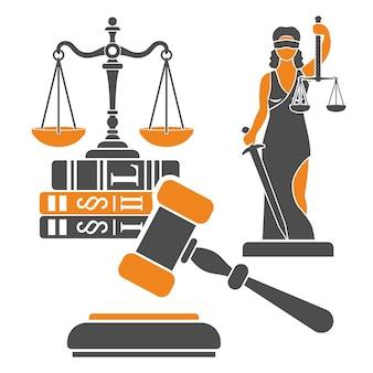 Conceito de lei e justiça com escalas de justiça de ícones lisos, martelo de juiz, senhora justiça, livros de direito. ilustração vetorial isolada