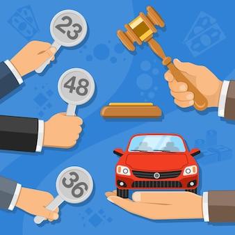 Conceito de leilão e licitação. leiloeiro segurando o martelo na mão e compradores segurando lances na mão. venda de automóveis em leilão.