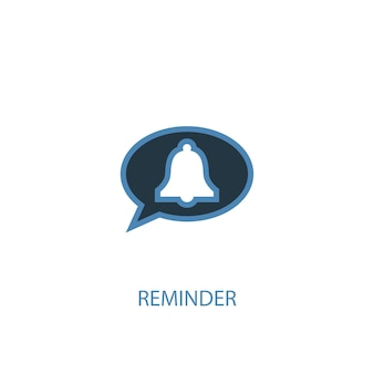 Conceito de lembrete 2 ícone colorido. ilustração do elemento azul simples. lembrete conceito símbolo design. pode ser usado para ui / ux da web e móvel