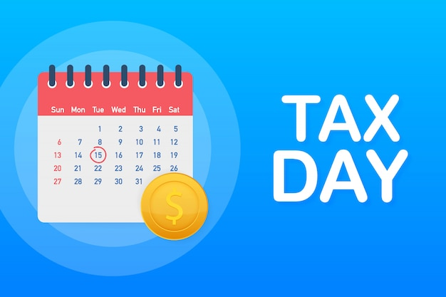 Conceito de lembrete de imposto dia, modelo de design de calendário.