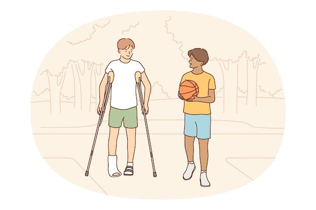 Conceito de lesões e perna quebrada