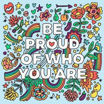 Conceito de letras do dia do orgulho