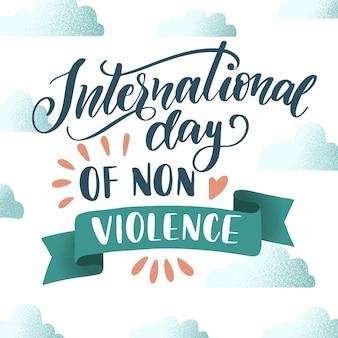 Conceito de letras do dia internacional da não-violência