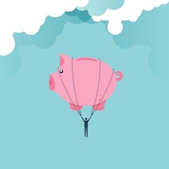 Conceito de liberdade financeira como um balão de cofrinho elevando um empresário ao sucesso na gestão