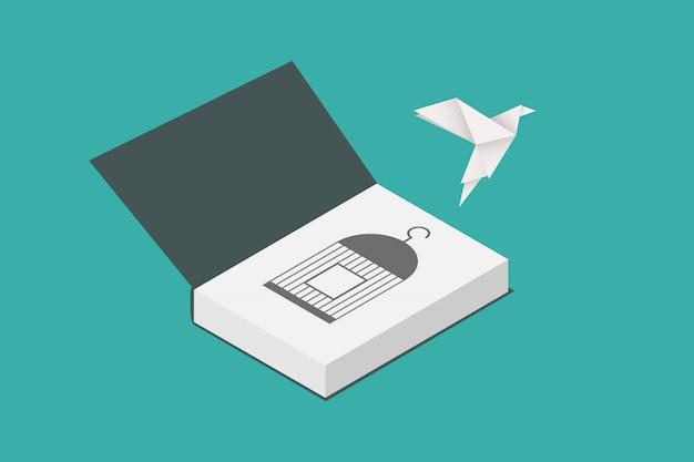 Conceito de liberdade. pássaro de papel voando para fora de um livro. design plano
