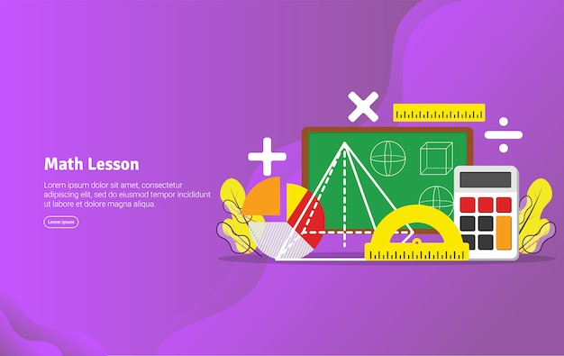 Conceito de lição de matemática banner ilustração educacional