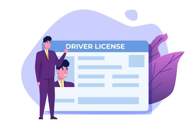 Conceito de licença de motorista de carro.