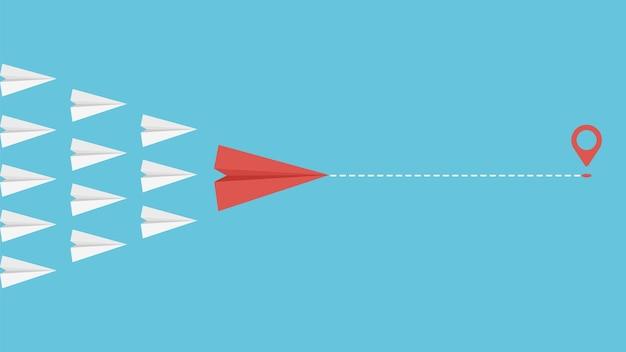 Conceito de líder de equipe. metáfora de liderança de motivação de negócios. aviões de papel voando juntos ilustração vetorial. liderança de motivação, guia de gestão de trabalho em equipe empresarial