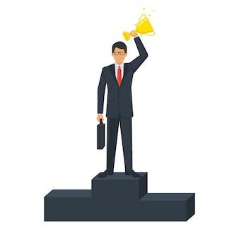 Conceito de líder de negócios de sucesso. empresário no pódio de vencedores com a taça vitoriosa de ouro. liderança em primeiro lugar. ilustração