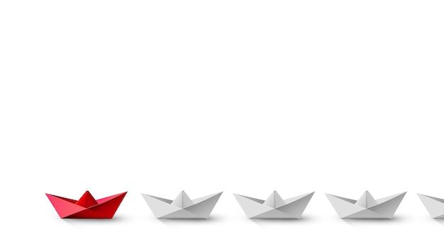 Conceito de liderança, barco líder vermelho levando brancos. destaque, renderização em 3d