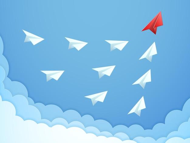 Conceito de liderança de avião de papel