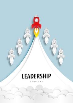 Conceito de liderança de foguete