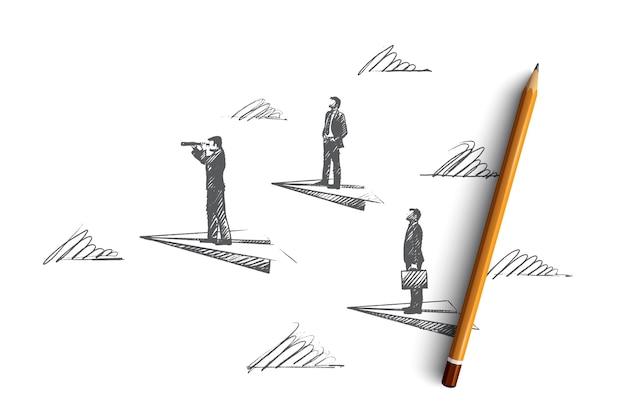 Conceito de liderança. desenhado à mão pessoas de sucesso, líderes, que conhecem a estratégia. gerente, ilustração isolada do líder da equipe.