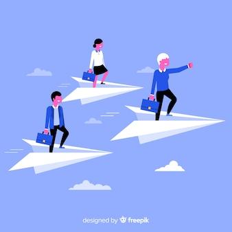 Conceito de liderança e aviões de papel