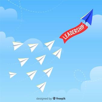 Conceito de liderança e design de aviões de papel