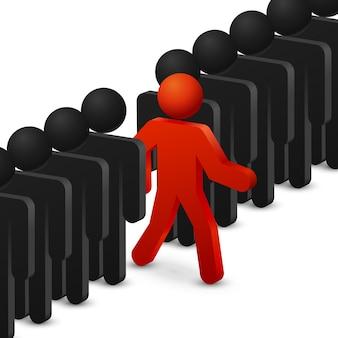 Conceito de liderança e originalidade. corra para as oportunidades. liderança crescente, liderança de sucesso, oportunidades de negócios, trabalhador líder. ilustração vetorial