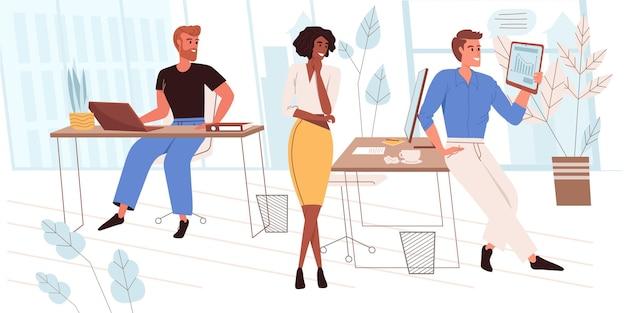 Conceito de liderança em design plano. equipe de sucesso desenvolve negócios, analisa dados da empresa, discute estratégia em reunião de escritório. cena de pessoas de parceria e colaboração. ilustração vetorial