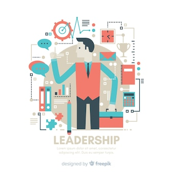 Conceito de liderança em design plano