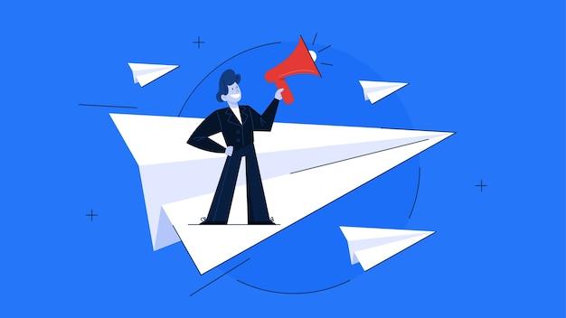 Conceito de liderança. ideia de trabalho em equipe e orientação. profissional leva os trabalhadores ao sucesso nos negócios. ilustração