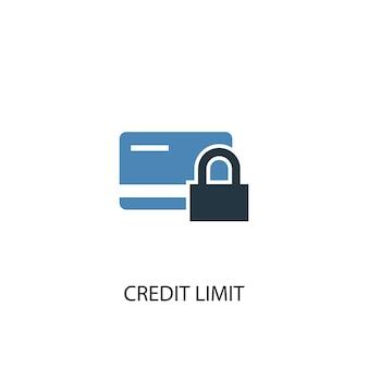 Conceito de limite de crédito 2 ícone colorido. ilustração do elemento azul simples. projeto de símbolo de conceito de limite de crédito. pode ser usado para ui / ux da web e móvel