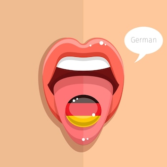 Conceito de língua alemã. língua alemã boca aberta com bandeira alemã, rosto de mulher. ilustração de design plano.