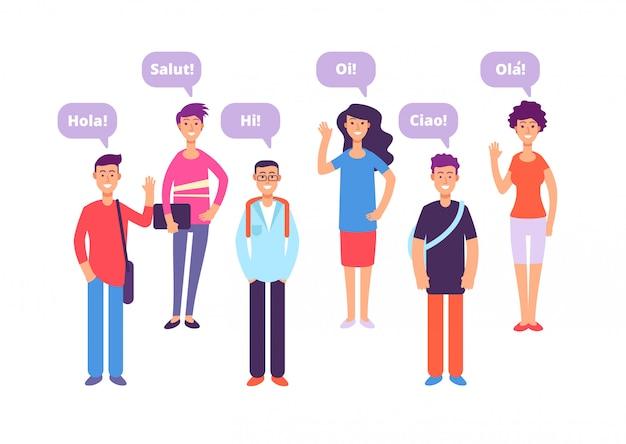 Conceito de língua estrangeira. alunos cumprimentando em inglês francês alemão japonês.