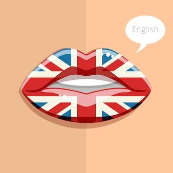 Conceito de língua inglesa. lábios de glamour com maquiagem da bandeira britânica, rosto de mulher. ilustração de design plano.
