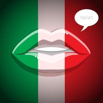 Conceito de língua italiana. lábios de glamour com maquiagem da bandeira italiana