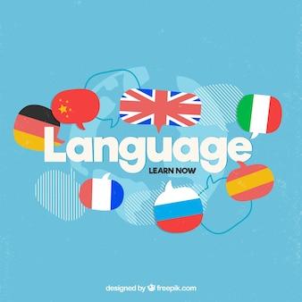Conceito de línguas com design plano