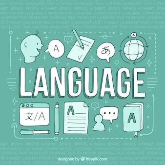 Conceito de línguas desenhadas de mão