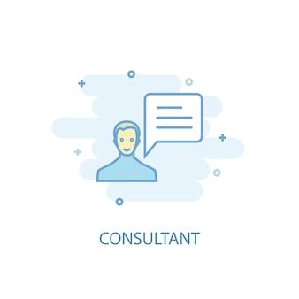 Conceito de linha de consultor. ícone de linha simples, ilustração colorida. consultor símbolo design plano. pode ser usado para ui / ux