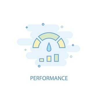 Conceito de linha de desempenho. ícone de linha simples, ilustração colorida. design plano de símbolo de desempenho. pode ser usado para ui / ux