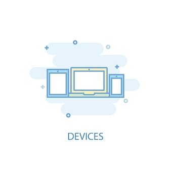 Conceito de linha de dispositivos. ícone de linha simples, ilustração colorida. dispositivos símbolo design plano. pode ser usado para ui / ux