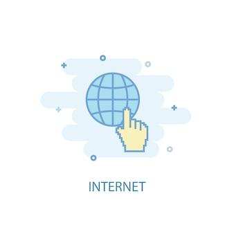 Conceito de linha de internet. ícone de linha simples, ilustração colorida. design plano de símbolo de internet. pode ser usado para ui / ux