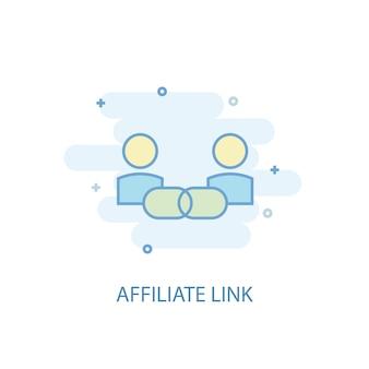 Conceito de linha de link de afiliados. ícone de linha simples, ilustração colorida. design plano do símbolo do link de afiliado. pode ser usado para ui / ux