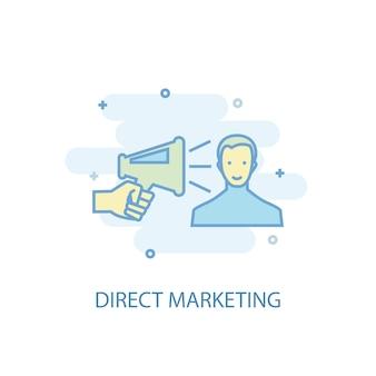 Conceito de linha de marketing direto. ícone de linha simples, ilustração colorida. design plano de símbolo de marketing direto. pode ser usado para ui / ux