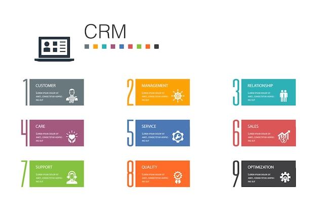 Conceito de linha de opção crm infográfico 10. cliente, gerenciamento, relacionamento, ícones simples de serviço