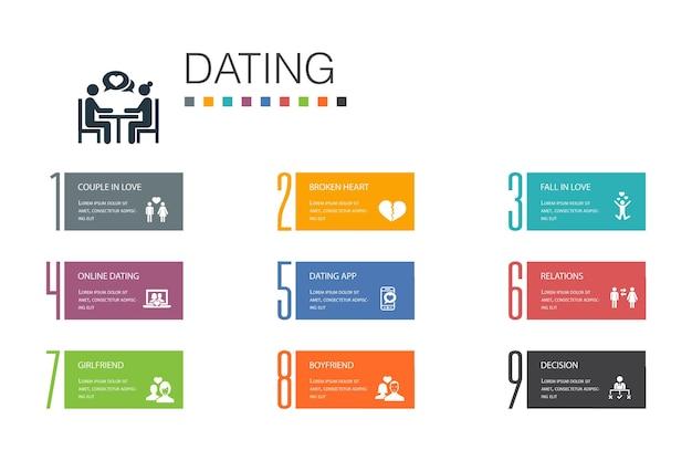 Conceito de linha de opção de dating infographic 10. casal apaixonado, apaixonado, aplicativo de namoro, ícones simples de relações