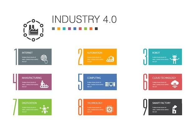 Conceito de linha de opção de infográfico 10 da indústria 4.0. internet, automação, fabricação, ícones simples de computação