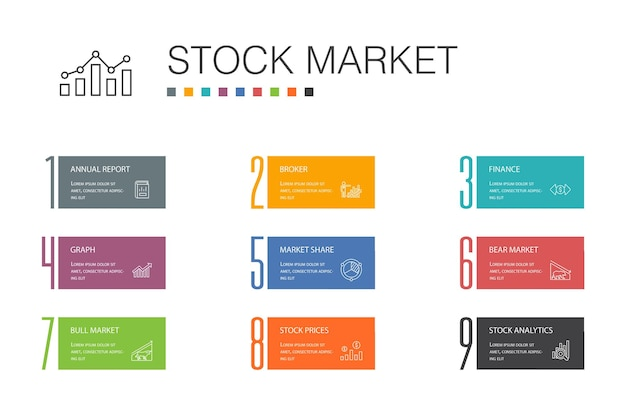 Conceito de linha de opção de infográfico 10 do mercado de ações. corretor, finanças, gráfico, ícones simples de participação de mercado